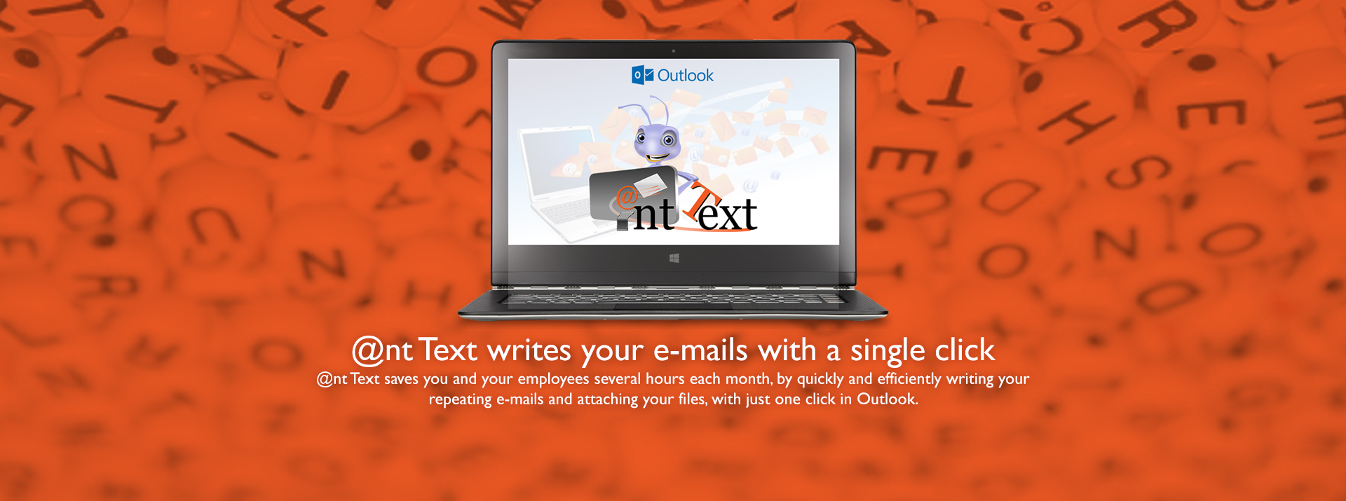 Header Computer screen with Outlook and Ant Text logos - Ant Text writes your emails with a single click