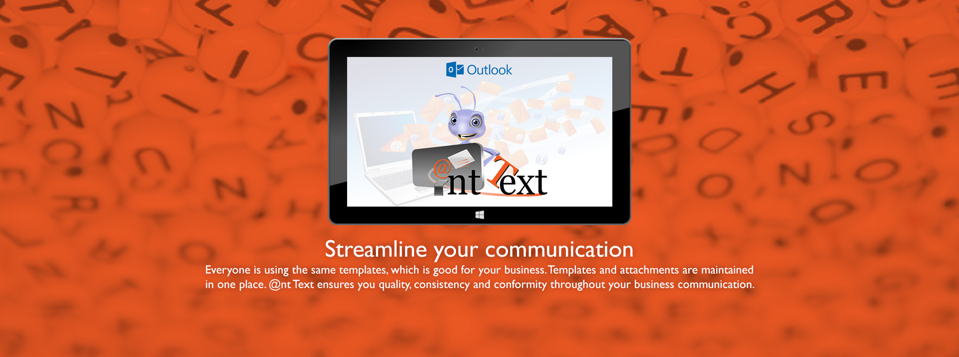 Header Computer screen with Outlook and Ant Text logos - Streamline your communication