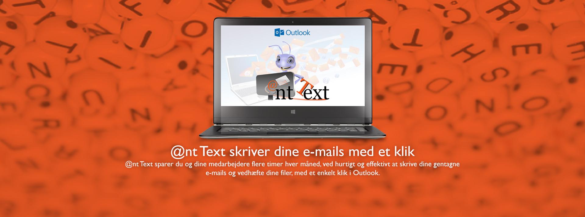 Header med computer - skærm viser Ant Text og Outlook logos - Tekst Ant Text skriver dine e-mails med et klik