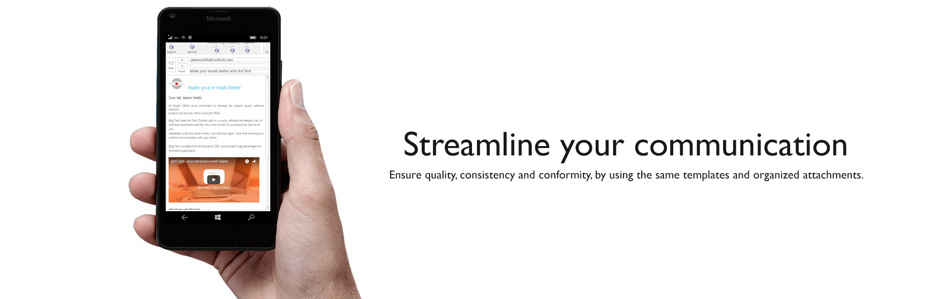 Header Hand holding mobile - Text Streamline your communication slide