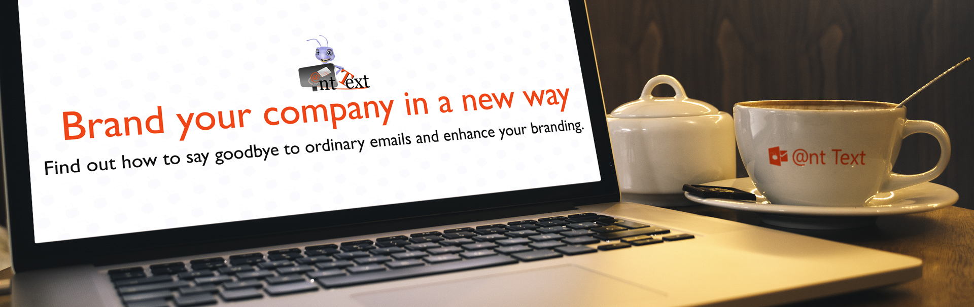 Header with desk computer and coffee cup - Text Brand your company in a new way