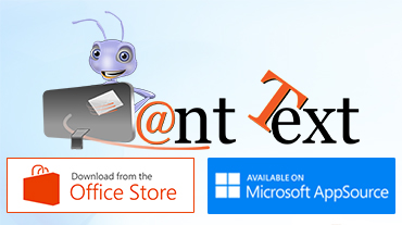 Ant text logo above Office Store and AppSource download link